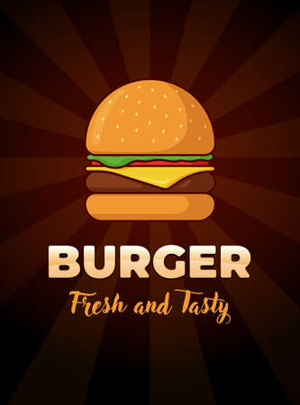 Burger fresh and tasty fast food advertising poster. Hamburger with tomato bow greens juicy fried beef cutlet cheese slice in bun. Cheeseburger fastfood flat vector illustration on black background