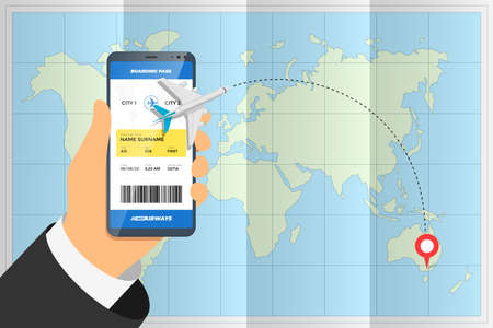 Hand holding smartphone with mobile app ordering flight ticket and airplane route on destination location pin above folded world map. Business tourism online boarding pass booking vector concept