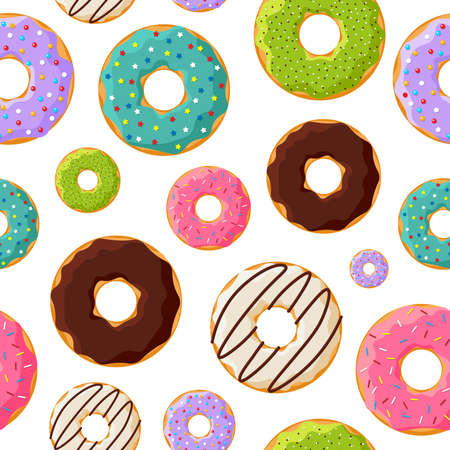 Colorful glazed sweet donuts seamless pattern on white background. Vector bakery eps illustration