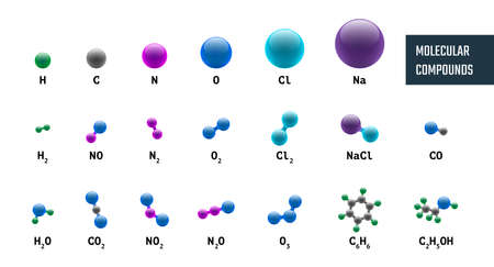 Collection of molecular chemical models combinations from hydrogen oxygen sodium carbon nitrogen and chlorine. Vector molecules set illustration isolated on white background
