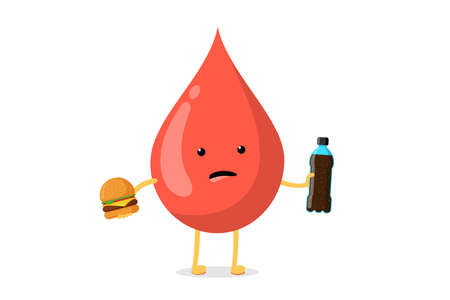 Cute cartoon sad unhealthy blood drop character with fast food burger and soda bottle. Vector malnutrition and high glucose diabetes risk flat illustration