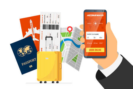 Online flight booking service concept. Hand holding smart phone with mobile app ordering airline ticket in front of suitcase luggage and passport. Travel application vector flat illustration 向量圖像