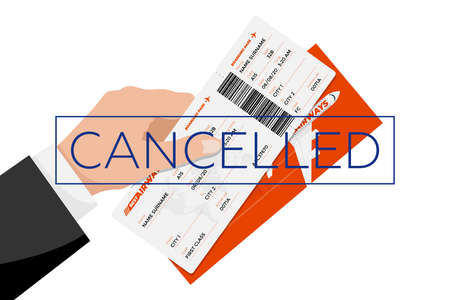 Flight cancelled with hand holding flight ticket boarding pass and cancellation stamp. Air travel document return concept flat vector illustration