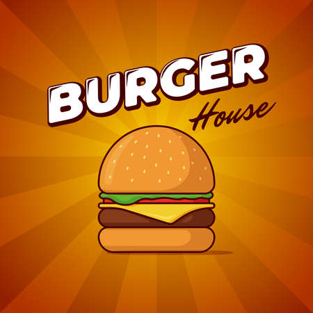 Burger house fast food meal advertising poster with rays and lettering inscription. Delicious hamburger or cheeseburger promotional banner design template. Vector illustration for restaurant menu Ilustracja