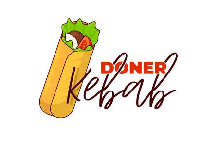 Rouleau de viande de restauration rapide Doner kebab avec modèle de conception de symbole publicitaire de menu de restaurant d'inscription. Repas de shawarma grillé oriental arabe. Shaurma ou burrito business emblème télévision vector illustration