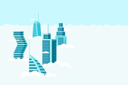 Detailed future city with different architecture high buildings skyscrapers apartments above clouds. Futuristic cityscape town. Vector real estate construction over sky flat illustration Illustration