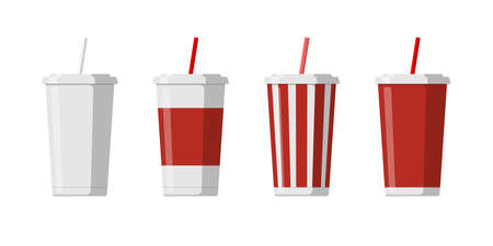 Disposable paper beverage cup template set for soda with drinking straw. Blank white big red striped cardboard soft drinks packaging mockup collection vector flat isolated illustation