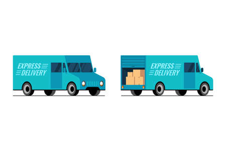 Express delivery blue truck side front and back view set. Fast shipping service van concept. Isometric 3d styled flat vector isolated eps illustration Foto de archivo - 143739166