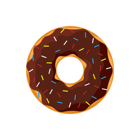 Cartoon colorful tasty donut isolated on white background. Chocolate glazed doughnut top view for cake cafe decoration or menu design. Vector flat isolated illustration Ilustración de vector