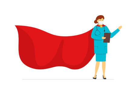 Super hero female doctor in protection face mask wearing red superhero cloak isolated on white background. Flat vector cartoon character woman of heroic hard work medical profession illustration