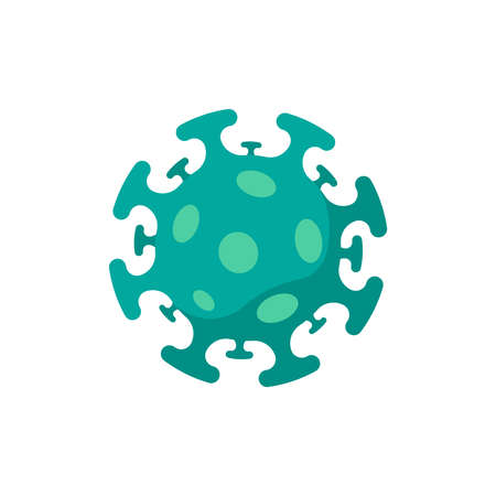 Coronavirus bacteria cell colored icon. 2019-nCoV novel corona virus outbreak color sign. Respiratory infection risk disease and covid-19 flu epidemic emblem. Vector isolated illustration Illustration