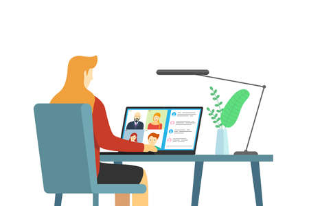 People group on laptop screen taking part online conference. Virtual work meeting and distance education webinar or videoconferencing. Video conferencing and web communication with company employees Illustration