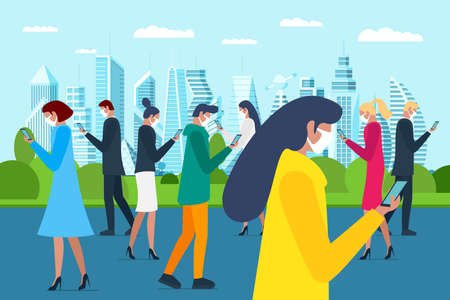 Crowd people walking in medical protective face mask on city park and using smartphones. Protecting airborne flu coronavirus epidemic infection or air pollution concept flat vector illustration