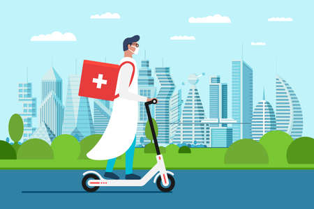 Medicine delivery pharmacy. Young male doctor in uniform riding electric scooter with medical surgical sanitary box first aid on cityscape street. Vector pharmacist emergency care flat illustration Illustration