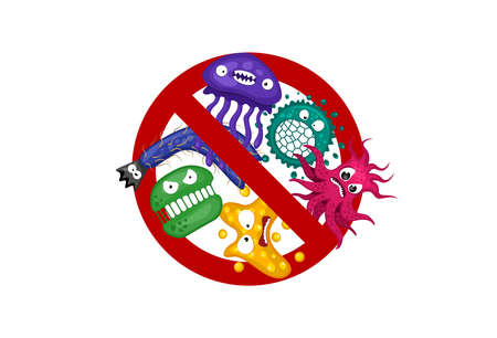 Stop spread virus sign. Cartoon bacterium germ characters isolated vector illustration on white background. Cute fly bacteria infection character. Microbe viruses and diseases protection concept