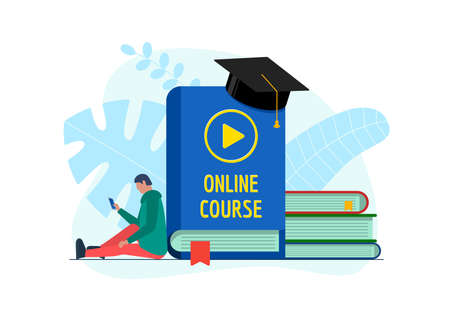 Online education course design concept. Remote e-learning student teenager male with smartphone and play video sign on cover book. Distance studying and internet teaching knowledge flat eps banner Illustration
