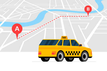 Taxi ordering and navigation service concept. A to B route with geotag gps location pin arrival address on isometric city map and yellow cab. Get taxicab flat eps vector illustration Illustration