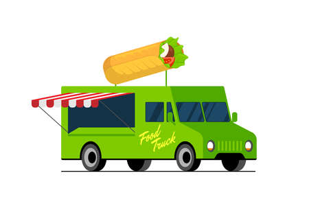Fast food green truck. Doner kebab on van roof. Shawarma car delivery service or festival on street wheels vector flat isolated illustration Illustration