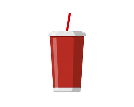 Red disposable paper or plastic beverage cup packaging template with drinking straw for soda or fresh juice cocktail. Vector mockup flat illustration isolated on white background