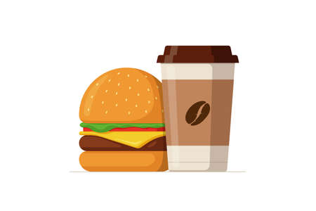 Cartoon colorful tasty burger and disposable paper coffee cup. Hamburger or cheeseburger with hot beverage. Fast food vector isolated flat illustration Illustration