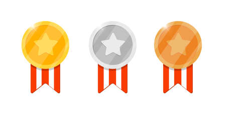Gold silver bronze medal reward set with star and striped ribbon for video game or apps animation. First second third place bonus achievement award. Winner trophy isolated flat vector illustration Illustration