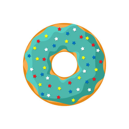 Cartoon turquoise color tasty donut isolated on white background. Glazed doughnut bakery top view for cake cafe decoration or menu design. Vector flat illustration Illustration
