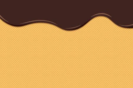 Chocolate ice cream melt and flow on toasted waffle surface. Glazed wafer texture sweet cake background. Vector flat eps illustration