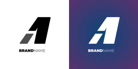 Letter A1 or 1A simple design concept. Corporate identity template sign vector illustration