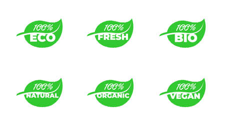 100 percent certified quality eco fresh bio natural organic vegan green leaf product badge collection. Vector healthy ecology plant label set isolated illustration