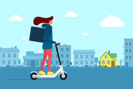 Delivery young female courier riding electric scooter with package product box. Fast shipping service concept on city street. Vector logistic illustration active hipster adult millennial on cityscape