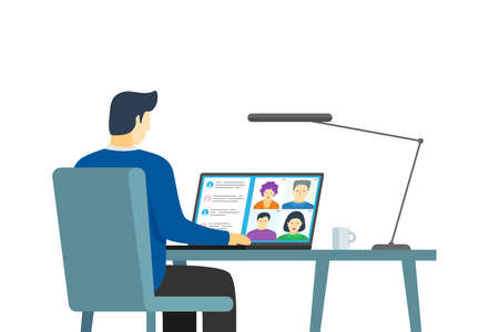 Male using laptop with people group on screen taking part online conference. Virtual work meeting and distance education webinar or videoconferencing. Video conferencing and remote web communication Illustration