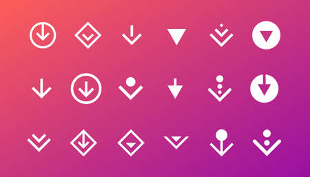 Swipe top down or download icon scroll pictogram set isolated for blogger web ui ux design. Vector white arrow bottom for application and social network website. Simple gradient button illustration