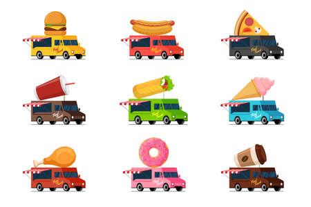 Fast food truck set. Burger hot dog pizza beverage milkshake shawarma kebab ice cream fried chicken donut coffee on van roof collection. Street cafe delivery wheels service flat vector illustration Illustration