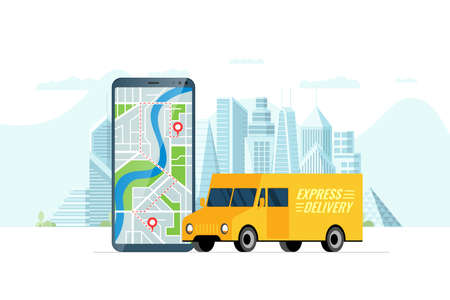 Fast delivery lorry truck ordering service app concept. Smartphone with map route geotag gps location pin arrival address on city street and express cargo shipping. Online application flat vector Illustration