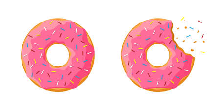 Cartoon colorful tasty donut whole and bitten set isolated on white background. Pink glazed doughnut top view for cake cafe decoration or bakery menu design. Vector flat illustration Illustration