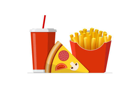 Fast sreet food takeaway lunch meal set. Pizza slice with french fries pack and soft drink soda cup. Flat isolated eps vector illustration