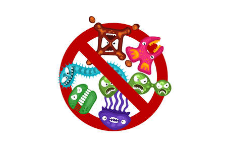 Stop spread virus sign. Cartoon germ characters isolated vector eps illustration on white background. Cute fly bacterium infection danger. Microbe viruses and diseases protection Illustration