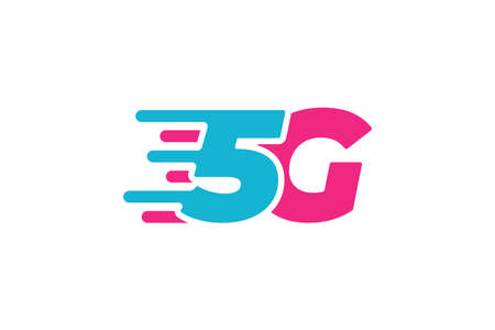 5G network connection business symbol. 5th generation wireless high speed internet technology icon. Vector 5 G communication emblem flat design template isolated