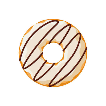 Cartoon colorful tasty donut isolated on white background. Strip glazed doughnut top view for cake cafe decoration or menu design. Vector flat illustration Illustration