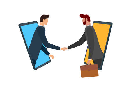 Two businessman make deal on distance and shaking hands on smartphone screens. Mobile online business agreement communication conference concept. Virtual handshake cooperation vector eps illustration