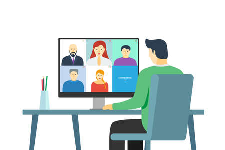 Man using computer with people group on screen taking part online conference. Home work meeting and distance education webinar or videoconferencing. Video conferencing and remote web communication Illustration