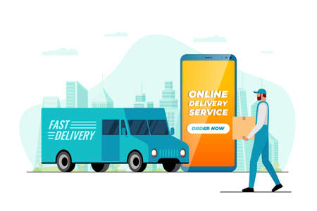 Fast delivery lorry truck ordering app concept. Smartphone with online service application and male courier with package box on city. Express cargo shipping flat vector illustration