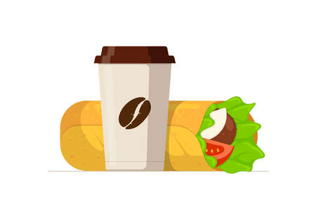 Shawarma fast food meat roll and disposable paper cup with coffee bean. Arabic eastern toasty doner kebab meal and beverage. Shaurma and soft drink flat vector illustration