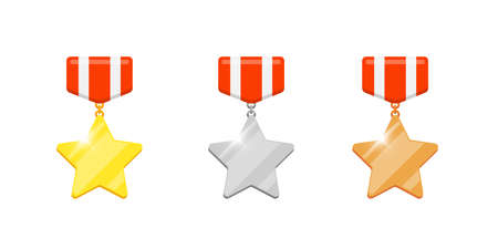 Gold silver bronze medal star reward set for video game or apps animation. First second third place bonus achievement award. Winner trophy isolated flat eps vector illustration