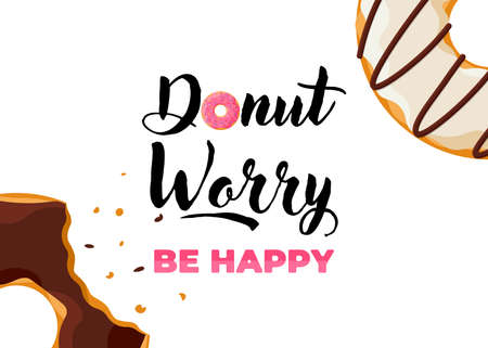 Cartoon colorful tasty bitten doughnut and inscription donut worry be happy vertical poster. Glazed bake top view with sprinkles for cake cafe decoration or menu design. Vector flat banner Illustration