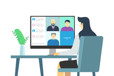People group on computer screen taking part online conference. Work meeting and distance education webinar or videoconference. Vector video conferencing and web communication with company employees Illustration