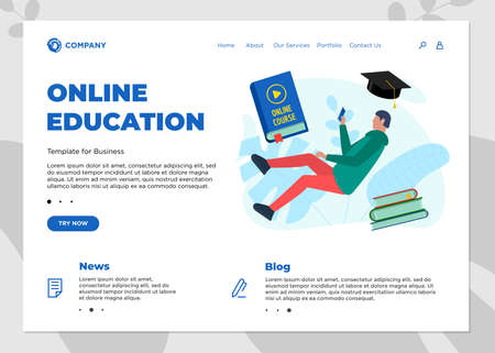 Online education course landing page template. E-learning website mockup with student teenager and play video sign on cover book. Remote learning and internet studying knowledge webinar vector concept Illustration
