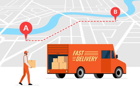 Fast delivery order service and online route tracking on city map concept. Lorry truck and male courier with package box. Express cargo logistics shipping flat vector illustration Illustration