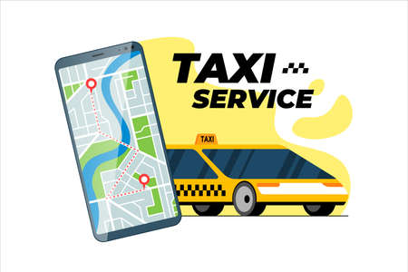 Smartphone with taxi transfer route and geotag gps location pin arrival address on city map. Online cab order service mobile app concept. Get yellow taxicab positioning application vector illustration 向量圖像