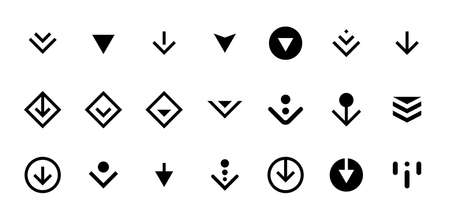 Swipe top down or download icon scroll pictogram set isolated for app web ui ux design. Vector black arrow bottom for application and social network website. Eps simple button illustration Illustration
